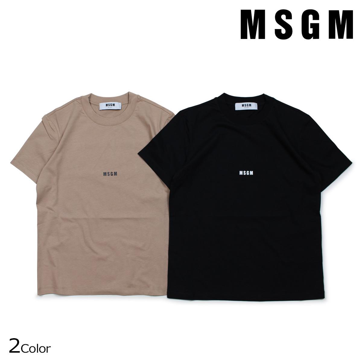 MSGM MICRO LOGO T-SHIRT Tシャツ レディース エムエスジーエム 半袖 ブラック ブラウンベージュ 2541MDM100 184798