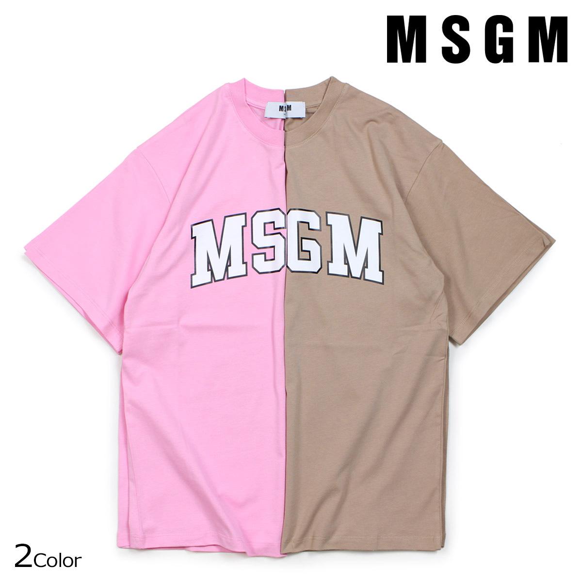 MSGM COLLEGE LOGO T-SHIRTS Tシャツ レディース エムエスジーエム 半袖 ブラウンベージュ ピンク 2541MDM162 184798
