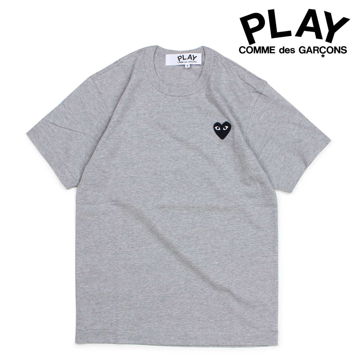 COMME des GARCONS BLACK HEART T-SHIRT コムデギャルソン PLAY Tシャツ 半袖 メンズ グレー AZT076 [10/3 新入荷]