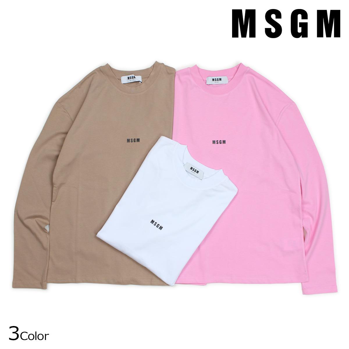 MSGM LOGO LONG SLEEVED SHIRTS WITH MICRO LOGO Tシャツ レディース エムエスジーエム 長袖 ロンT ホワイト ベージュ ピンク 2541MDM101 184798