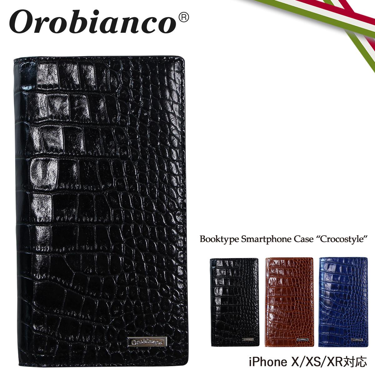 Orobianco CROCOSTYLE オロビアンコ iPhone XR X XS ケース 手帳型 スマホ アイフォン レザー メンズ レディース ORIP-0004