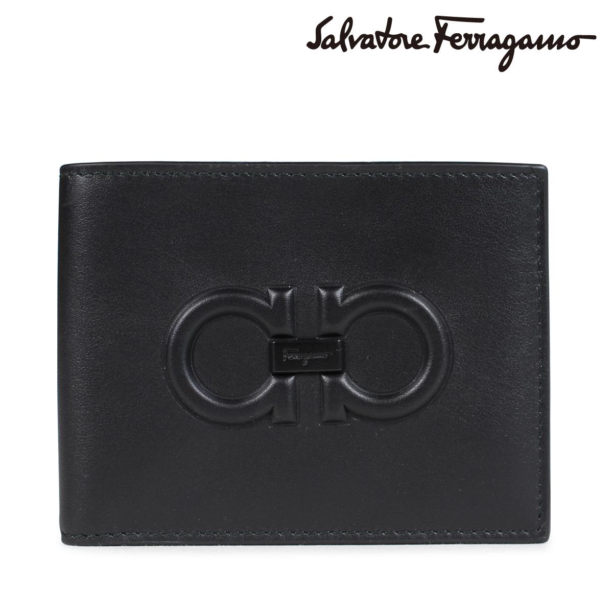 Salvatore Ferragamo FIRENZE LOGO WALLET フェラガモ 財布 メンズ 二つ折り ブラック 66A248