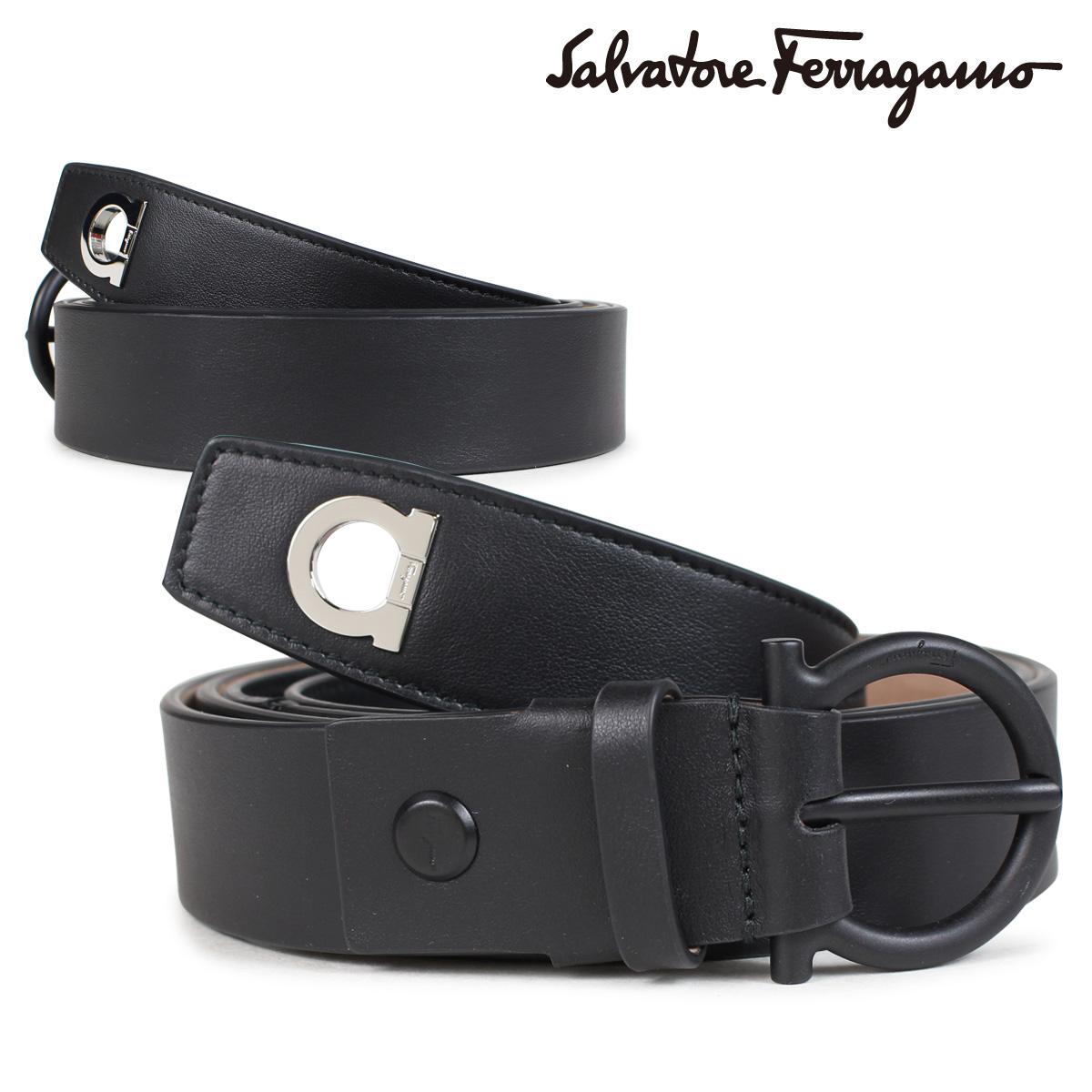 Salvatore Ferragamo ADJUSTABLE GANCINI BELT フェラガモ ベルト メンズ レザーベルト ブラック 679951