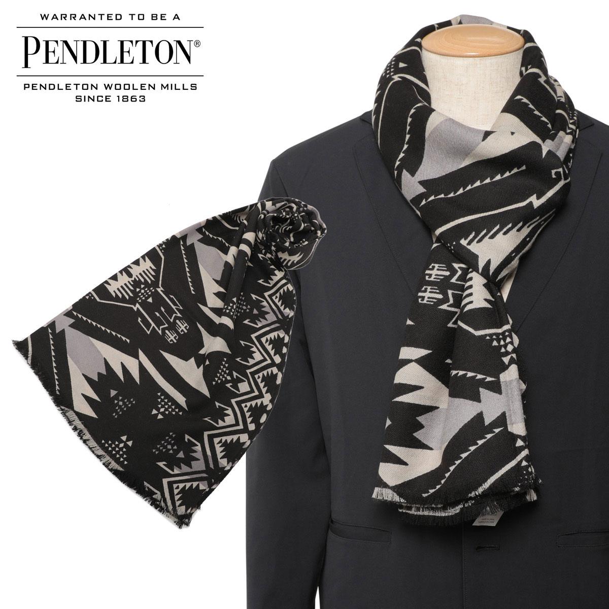 PENDLETON PRINTED SCARF ペンドルトン マフラー メンズ レディース 大判 ウール ブラック GS755