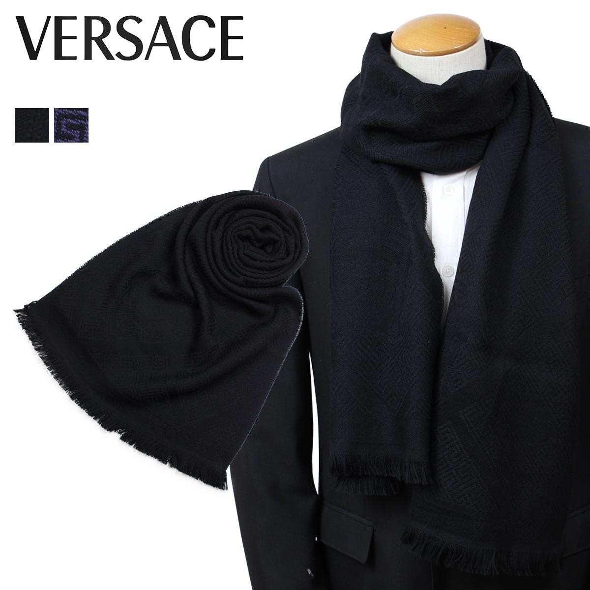 VERSACE 2311 ベルサーチ マフラー ヴェルサーチ メンズ レディース ウール イタリア製 カジュアル ビジネス ブラック パープル