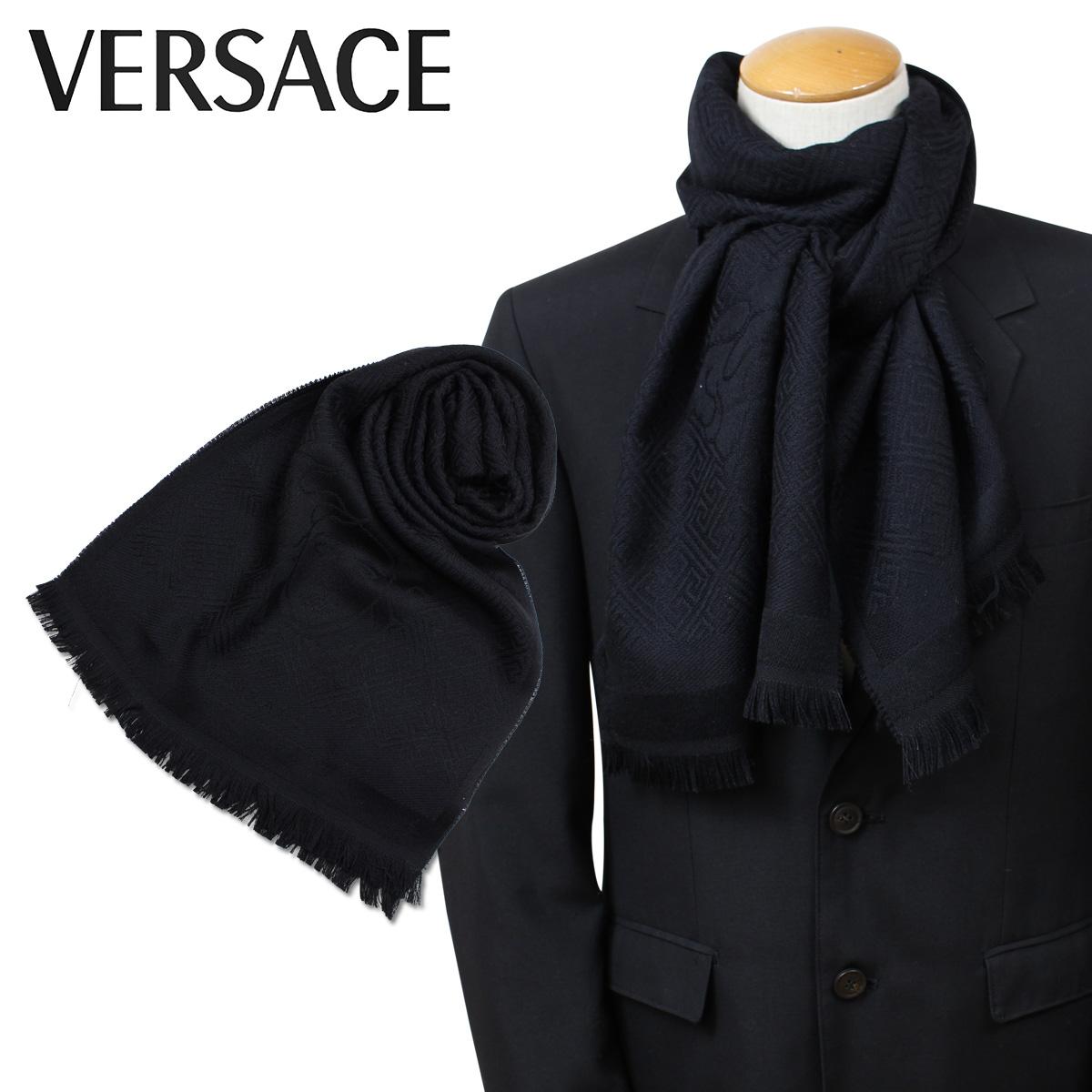 VERSACE 2310 ベルサーチ マフラー ヴェルサーチ メンズ レディース ウール イタリア製 カジュアル ビジネス ブラック