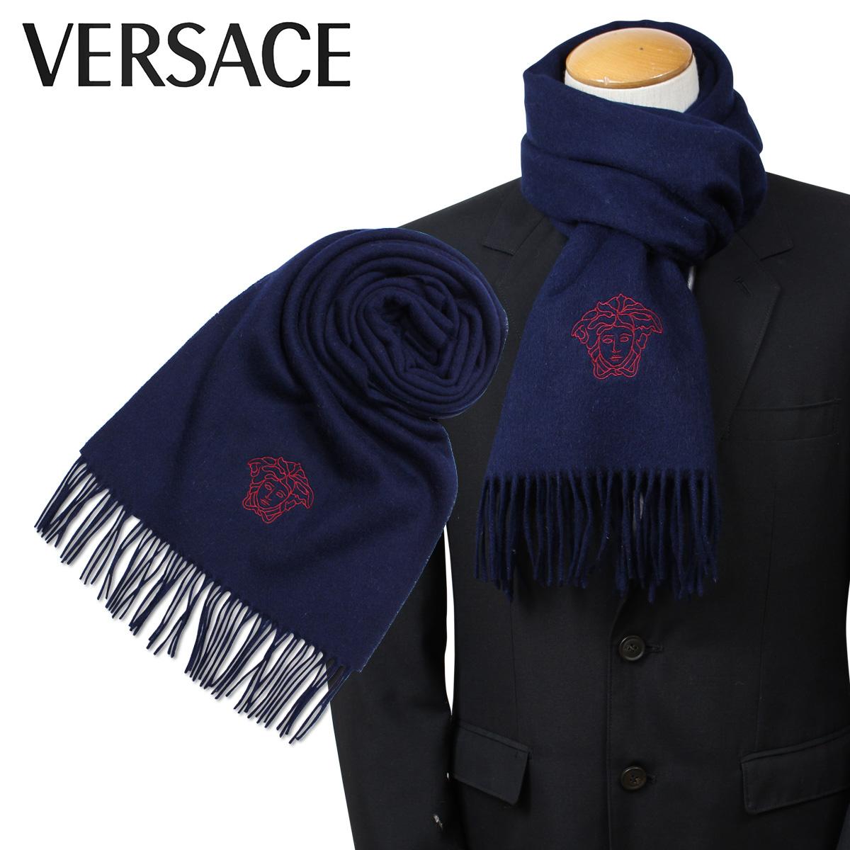 VERSACE 2461 ベルサーチ マフラー ヴェルサーチ メンズ レディース ウール イタリア製 カジュアル ビジネス ネイビー
