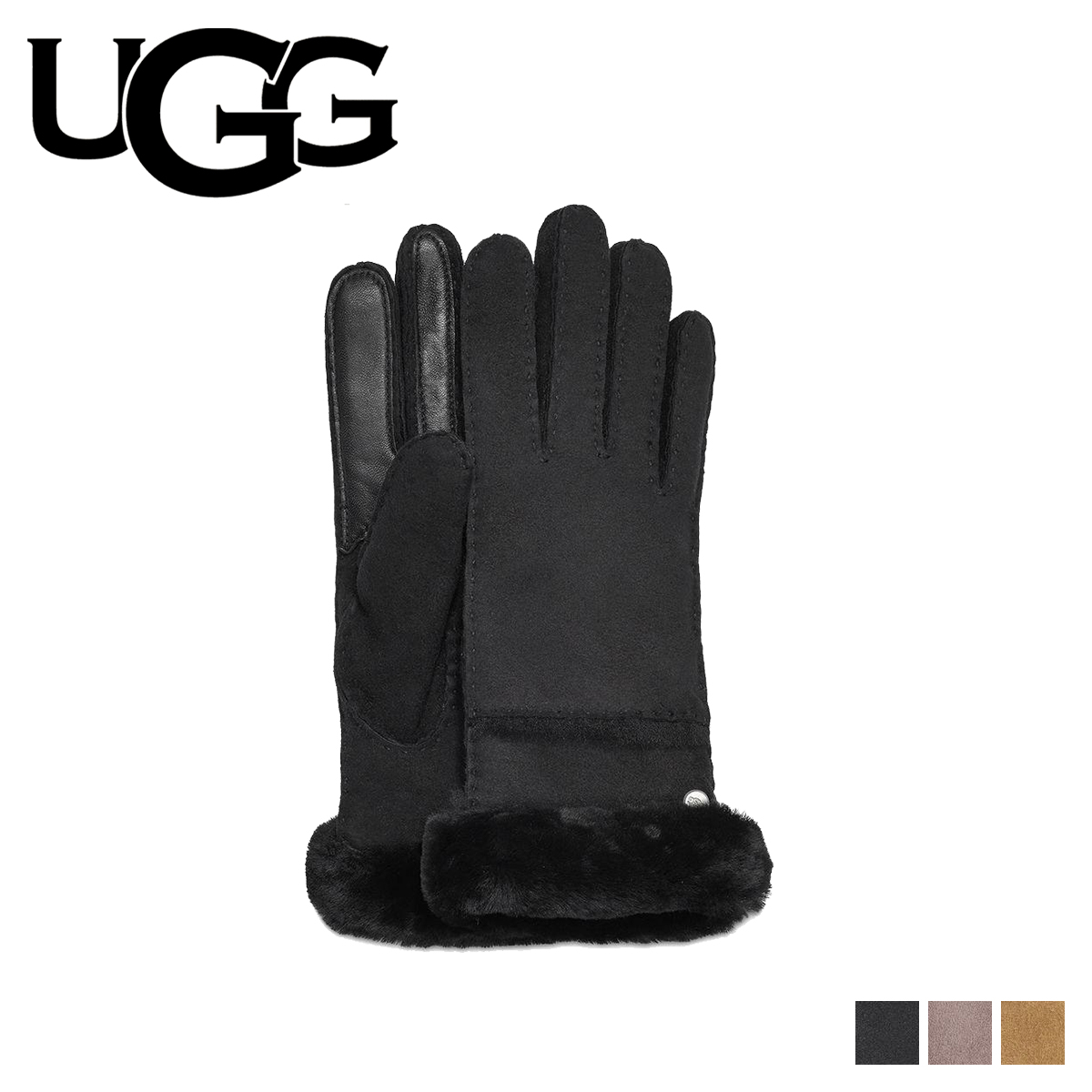 e197ca4f22a UGG SEAMED TECH GLOVE アグ gloves glove lady's smartphone-adaptive black gray  brown 17371BX [load planned Shinnyu load in reservation product 12/27 ...