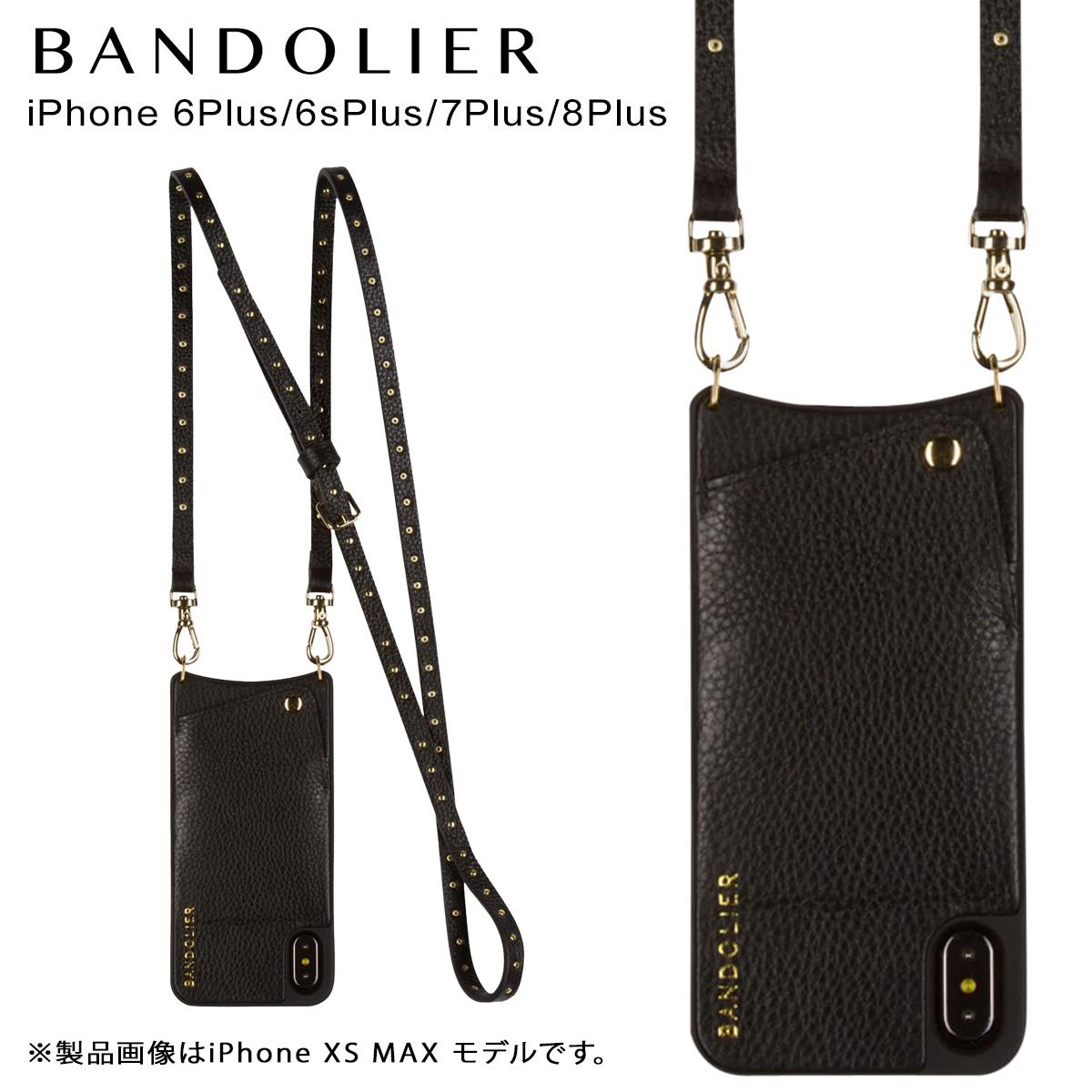 BANDOLIER NICOLE GOLD バンドリヤー iPhone8Plus iPhone7Plus 6sPlus ケース ショルダー スマホ アイフォン レザー メンズ レディース ブラック 10NIC1001 [3/19 再入荷]