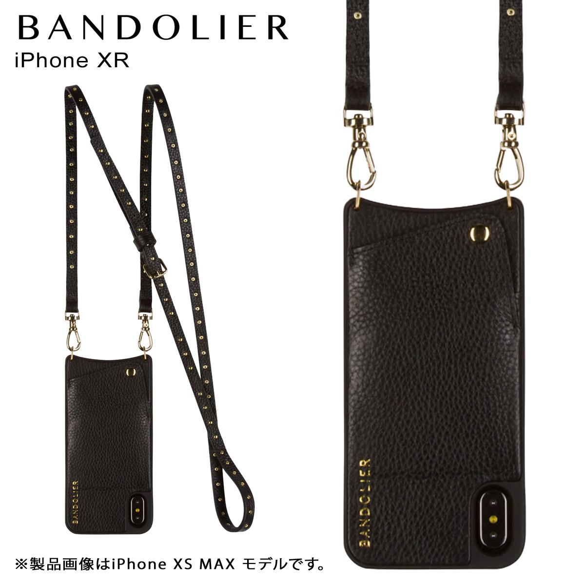 BANDOLIER iPhone XR NICOLE GOLD バンドリヤー ケース ショルダー スマホ アイフォン レザー メンズ レディース ブラック 10NIC1001 [4/18 再入荷]