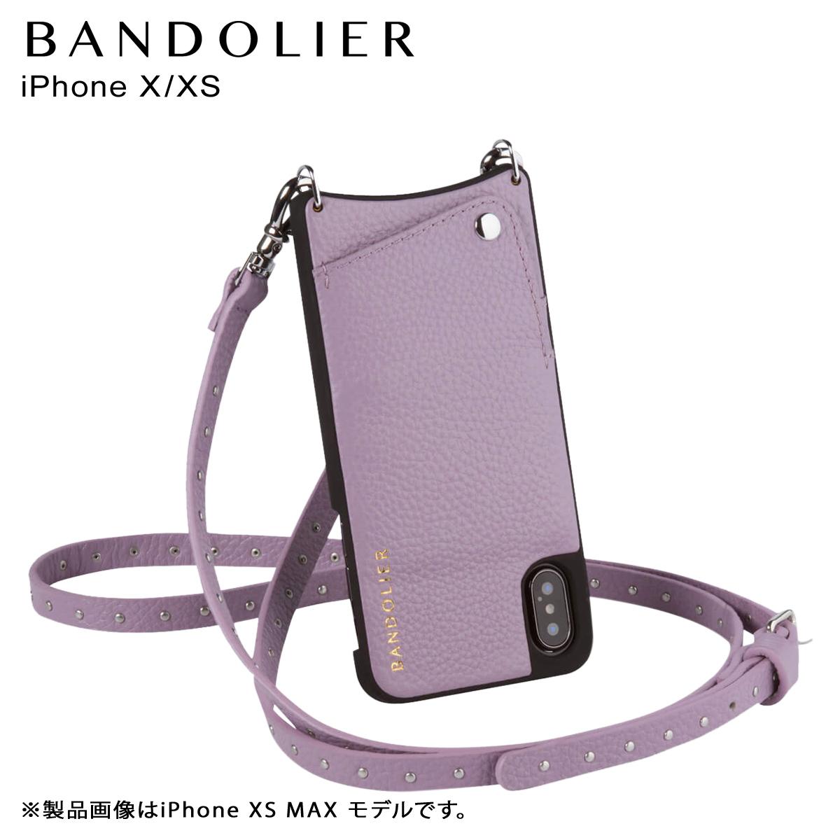 バンドリヤー BANDOLIER iPhone XS X ケース ショルダー スマホ アイフォン レザー NICOLE LILAC メンズ レディース ライラック 10NIC1001 [4/5 再入荷]