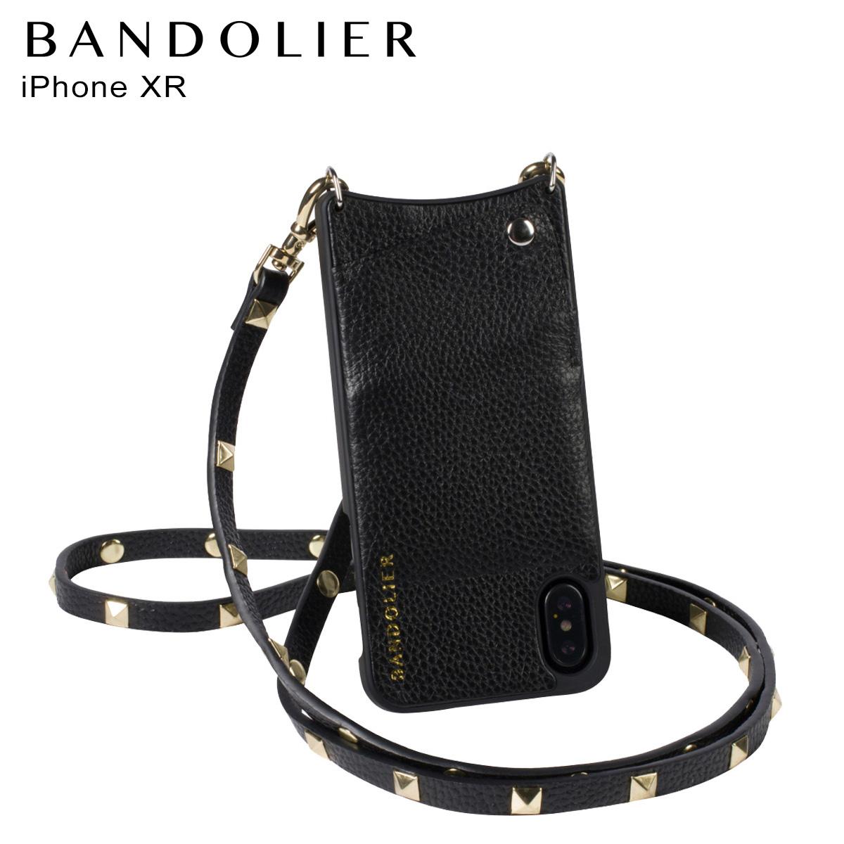 BANDOLIER iPhone XR SARAH GOLD バンドリヤー ケース ショルダー スマホ アイフォン レザー メンズ レディース ブラック 10SAR1001 [3/18 再入荷]
