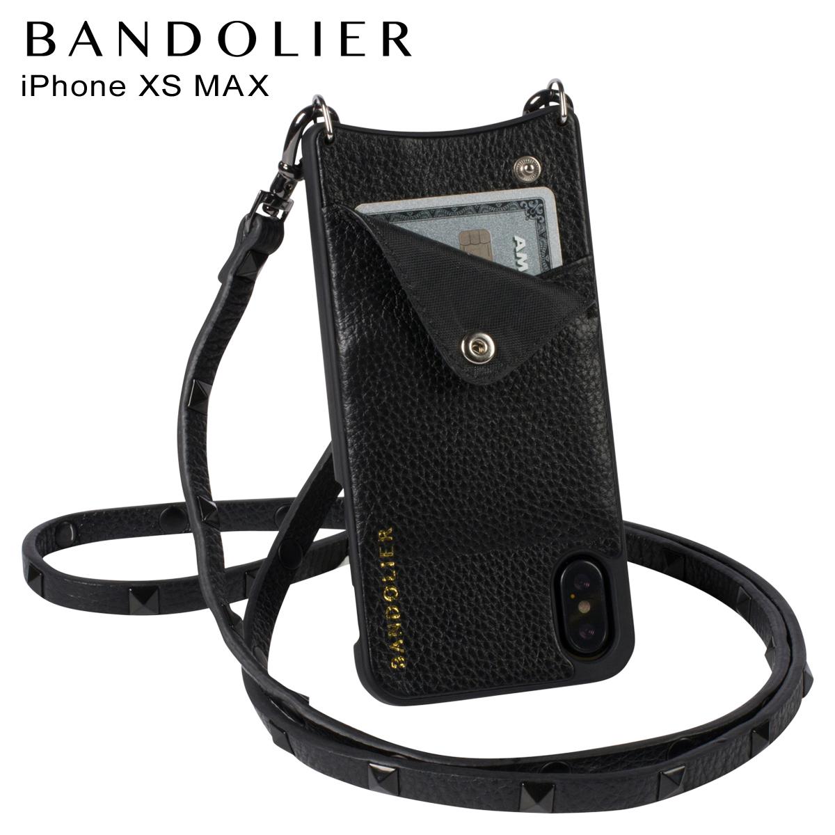 BANDOLIER iPhone XS MAX SARAH BLACK バンドリヤー ケース ショルダー スマホ アイフォン レザー メンズ レディース ブラック 10SAR1001 [4/18 再入荷]
