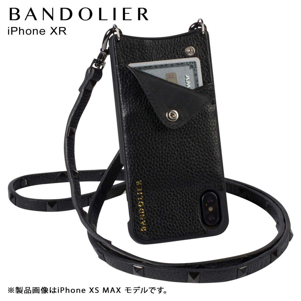 BANDOLIER iPhone XR SARAH BLACK バンドリヤー ケース ショルダー スマホ アイフォン レザー メンズ レディース ブラック 10SAR1001 [4/18 再入荷]
