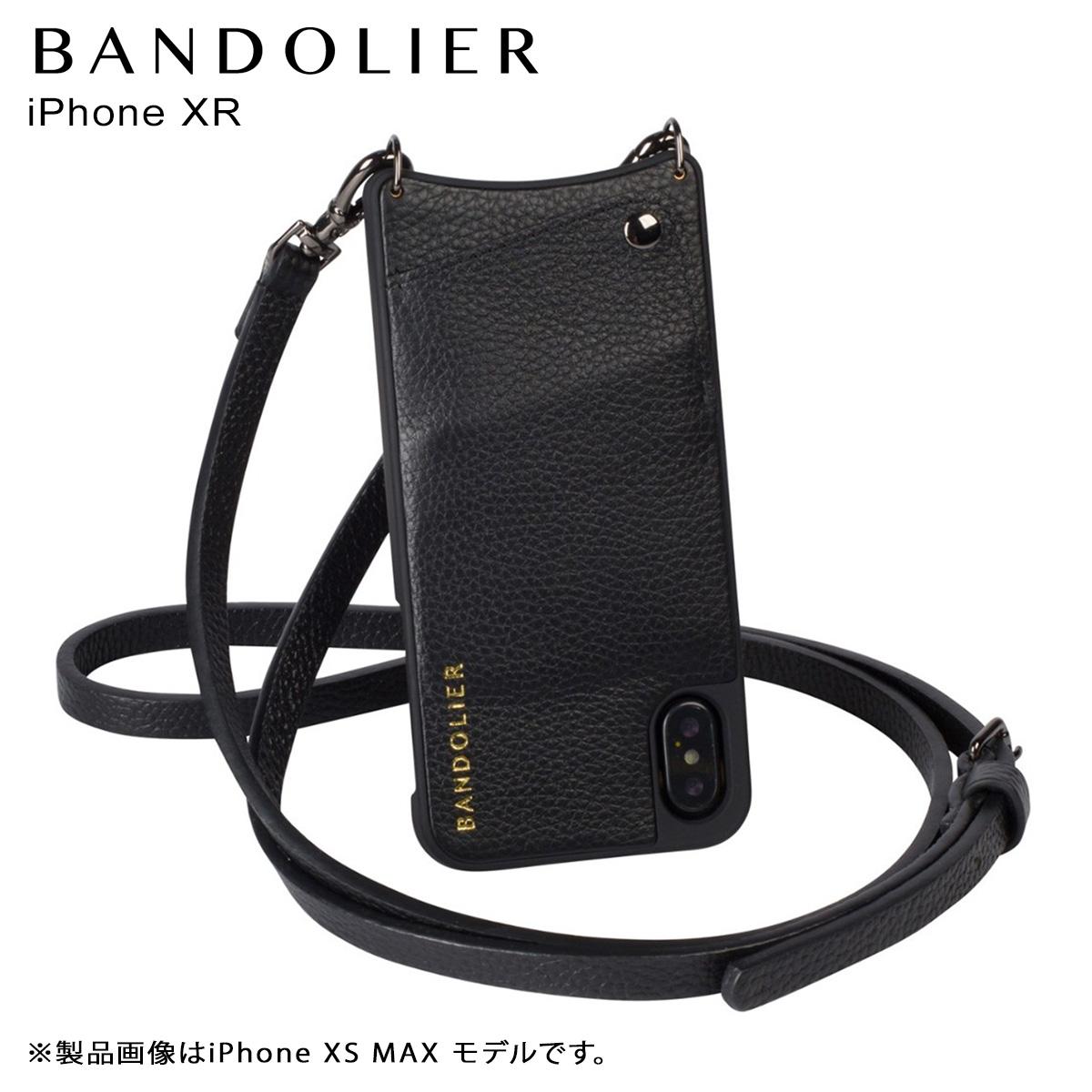 BANDOLIER iPhone XR EMMA PEWTER バンドリヤー ケース ショルダー スマホ アイフォン レザー メンズ レディース ブラック 10EMM1001 [4/18 再入荷]