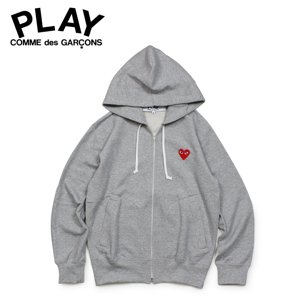COMME des GARCONS PLAY RED HEART PATCH ZIP HOODED SWEATSHIRT コムデギャルソン パーカー スウェット メンズ ジップアップ グレー P1T168 AZ-T168