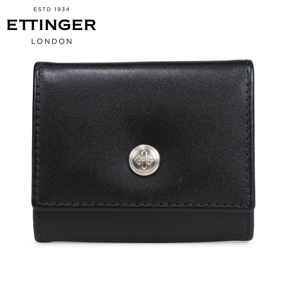 ETTINGER STERLING COIN PURSE WITH CARD POCKET エッティンガー 財布 コインケース 小銭入れ メンズ 本革 ブラック ST145JR