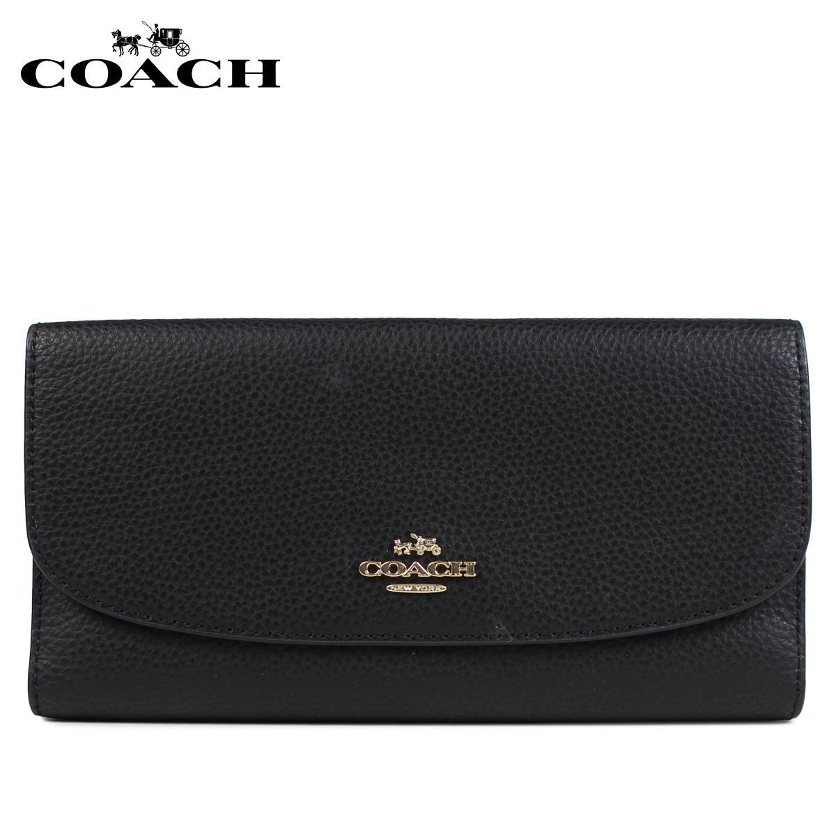 COACH F16613 コーチ 財布 長財布 レディース 三つ折り レザー ブラック