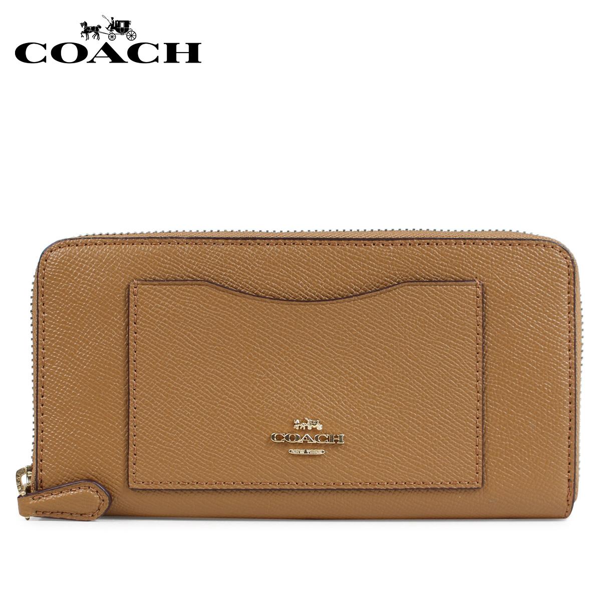 COACH F54007 コーチ 財布 長財布 レディース ラウンドファスナー レザー ブラウン