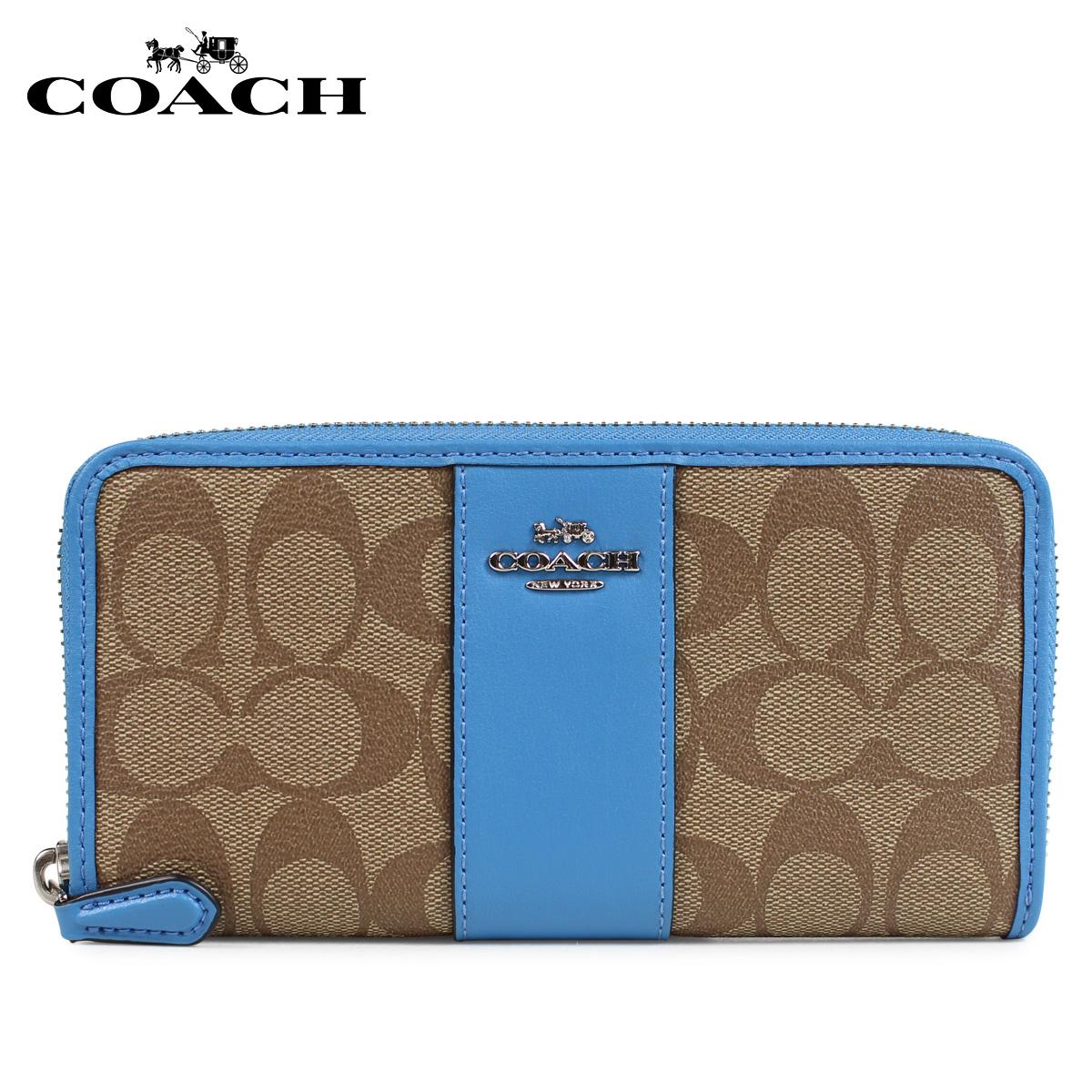 COACH F54630 コーチ 財布 長財布 レディース ラウンドファスナー シグネチャー レザー カーキ