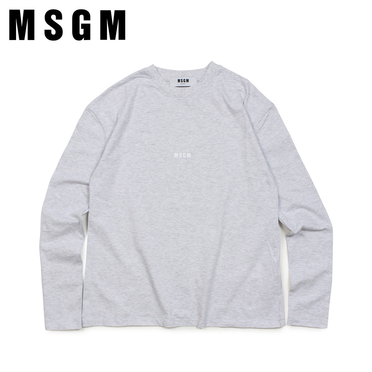 MSGM LOGO LONG SLEEVED SHIRTS WITH MICRO LOGO エムエスジーエム Tシャツ 長袖 レディース ロンT グレー MDM101 94