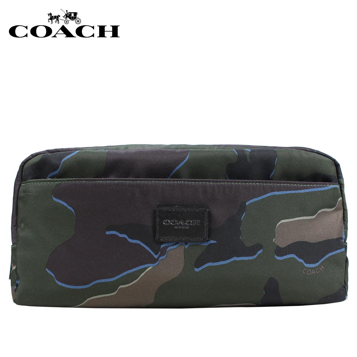 COACH F30754 コーチ ポーチ 小物入れ メンズ レザー カモ グリーン