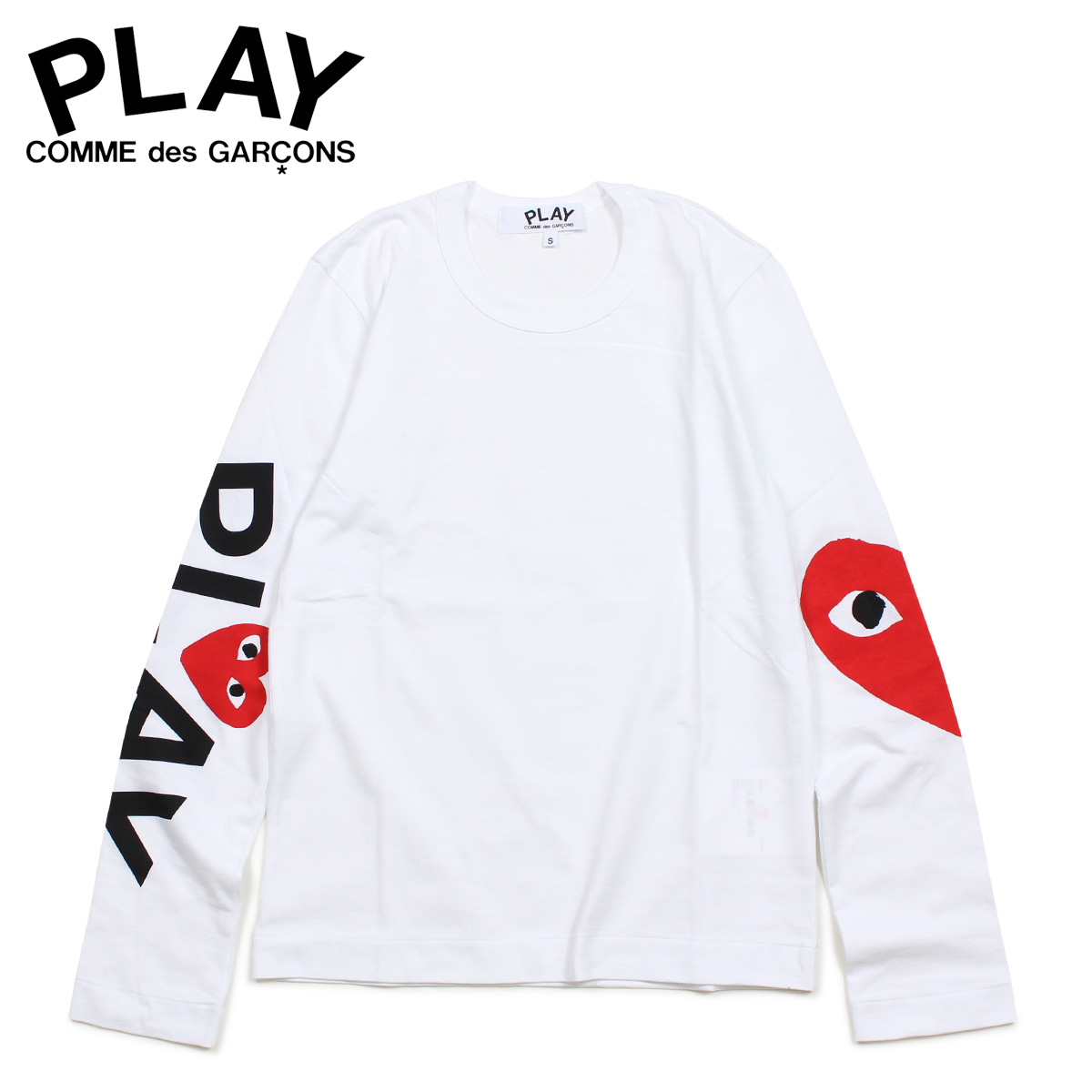 PLAY COMME des GARCONS RED HEART LONG SLEEVE コムデギャルソン Tシャツ レディース 長袖 ロンT ホワイト 白 AZ-T257 [3/29 新入荷]