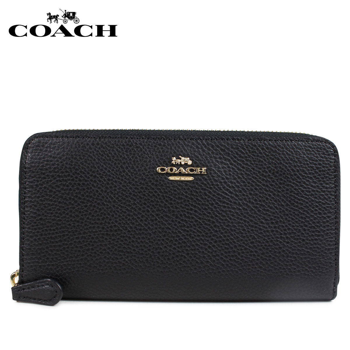 COACH F16612 コーチ 財布 長財布 レディース ラウンドファスナー レザー ブラック 黒