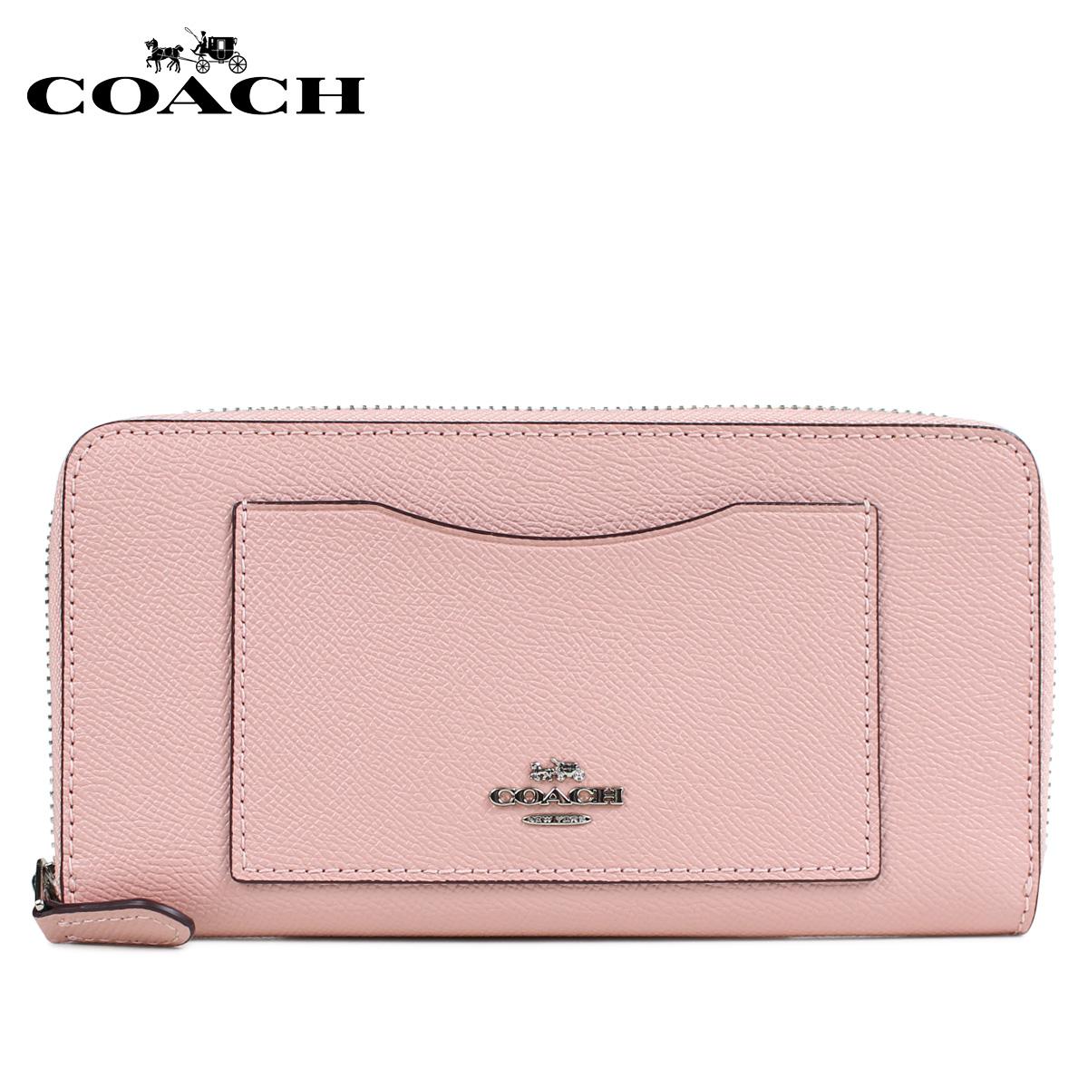 COACH F54007 コーチ 財布 長財布 レディース ラウンドファスナー レザー ピンク