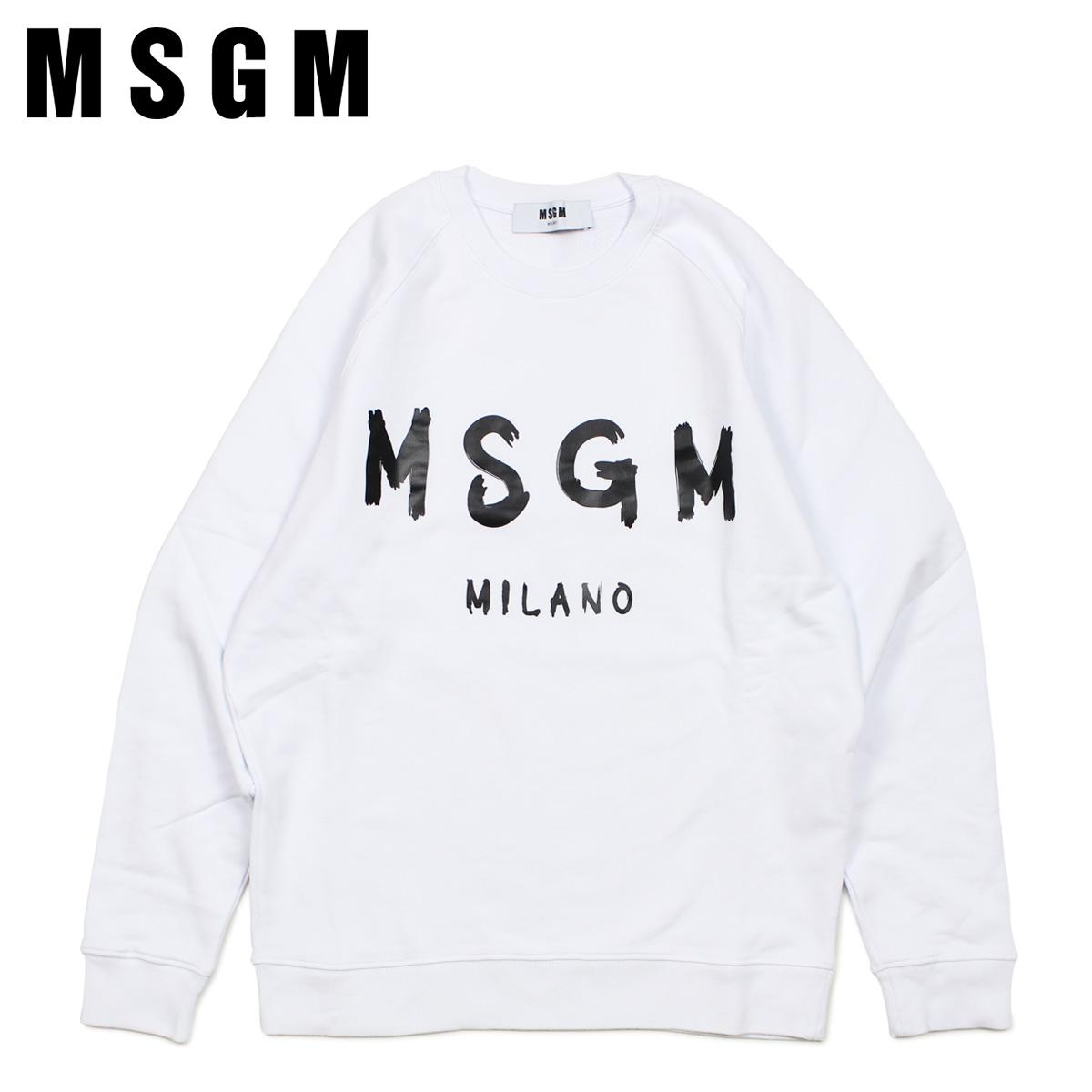 MSGM REGULAR SWEATSHIRT WITH BRUSHSTROKE MSGM LOGO エムエスジーエム トレーナー スウェット メンズ ホワイト 白 MM104 [4/11 新入荷]