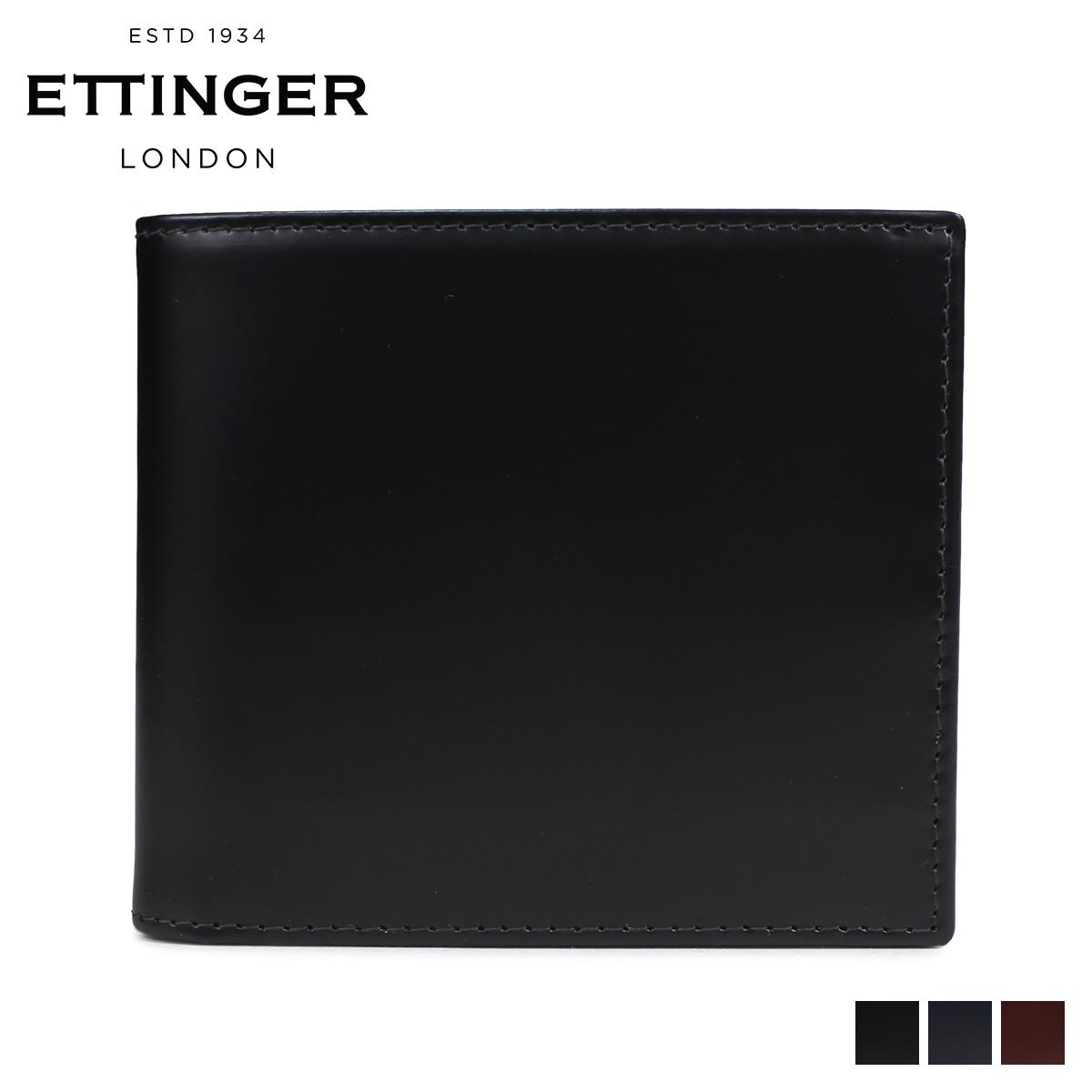 ETTINGER BILLFOLD WITH 6CC COIN PURSE エッティンガー 財布 二つ折り メンズ レザー ブラック ネイビー ブラウン 黒 BH142JR