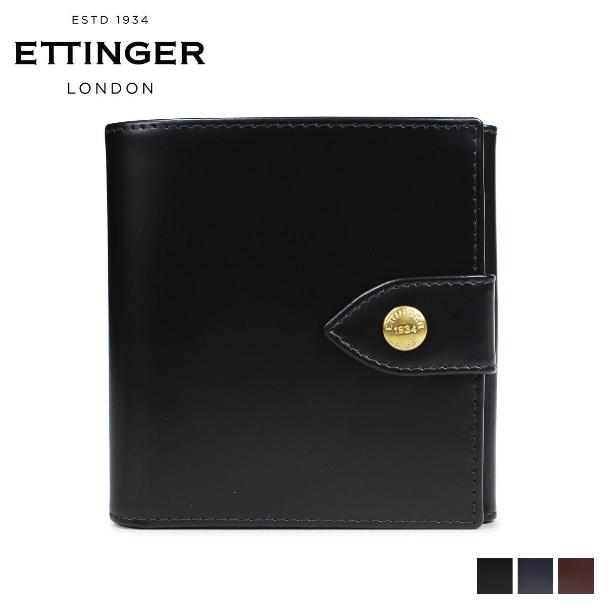 ETTINGER LARGE BILLFOLD PURSE エッティンガー 財布 二つ折り メンズ レザー ブラック ネイビー ブラウン 黒 BH178JR