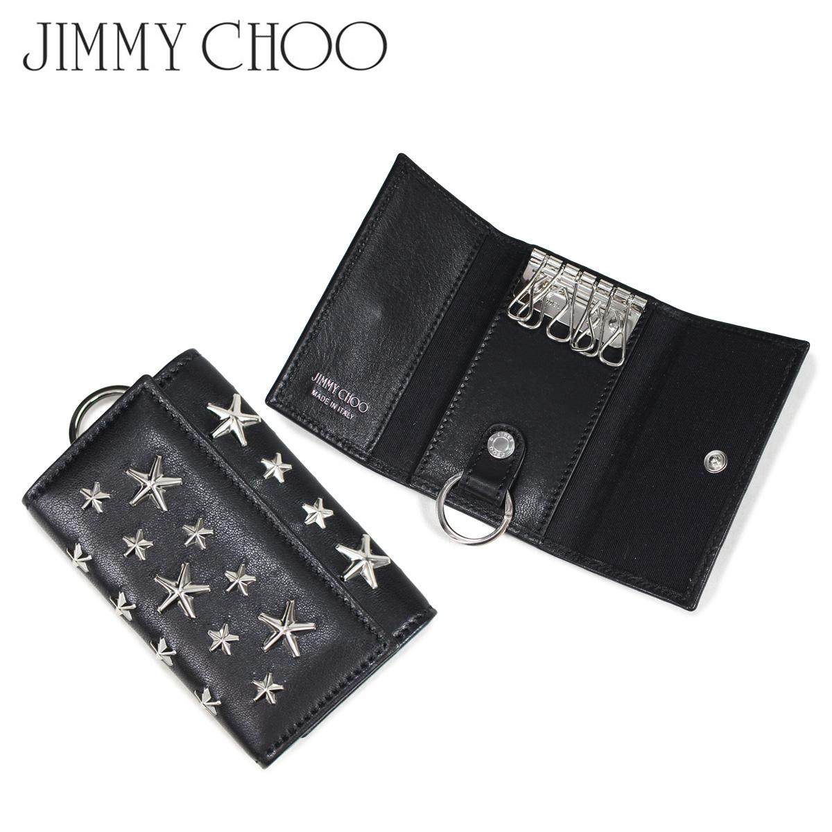JIMMY CHOO NEPTUNE CST BLACK ジミーチュウ キーケース キーホルダー レディース 6連 レザー スター スタッズ ブラック 黒