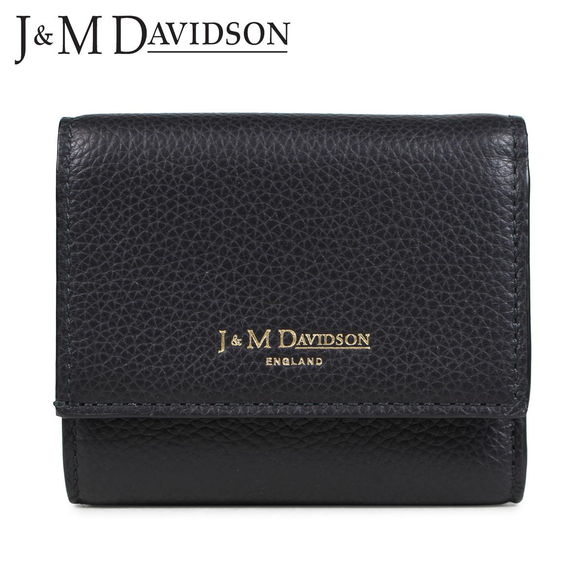 J&M DAVIDSON TWO FOLD WALLET ジェイアンドエムデヴィッドソン 財布 三つ折り レディース レザー ブラック 黒 10149-7470