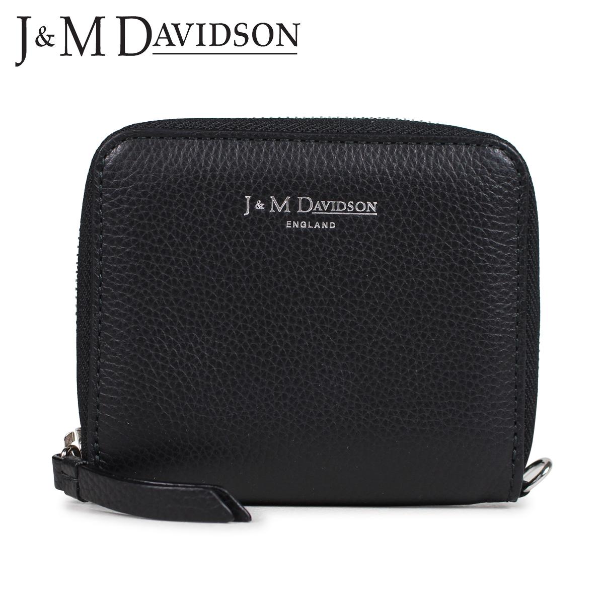 J&M DAVIDSON SQUARE ZIP WALLET ジェイアンドエムデヴィッドソン 財布 二つ折り レディース ラウンドファスナー レザー ブラック 黒 10186N-7470