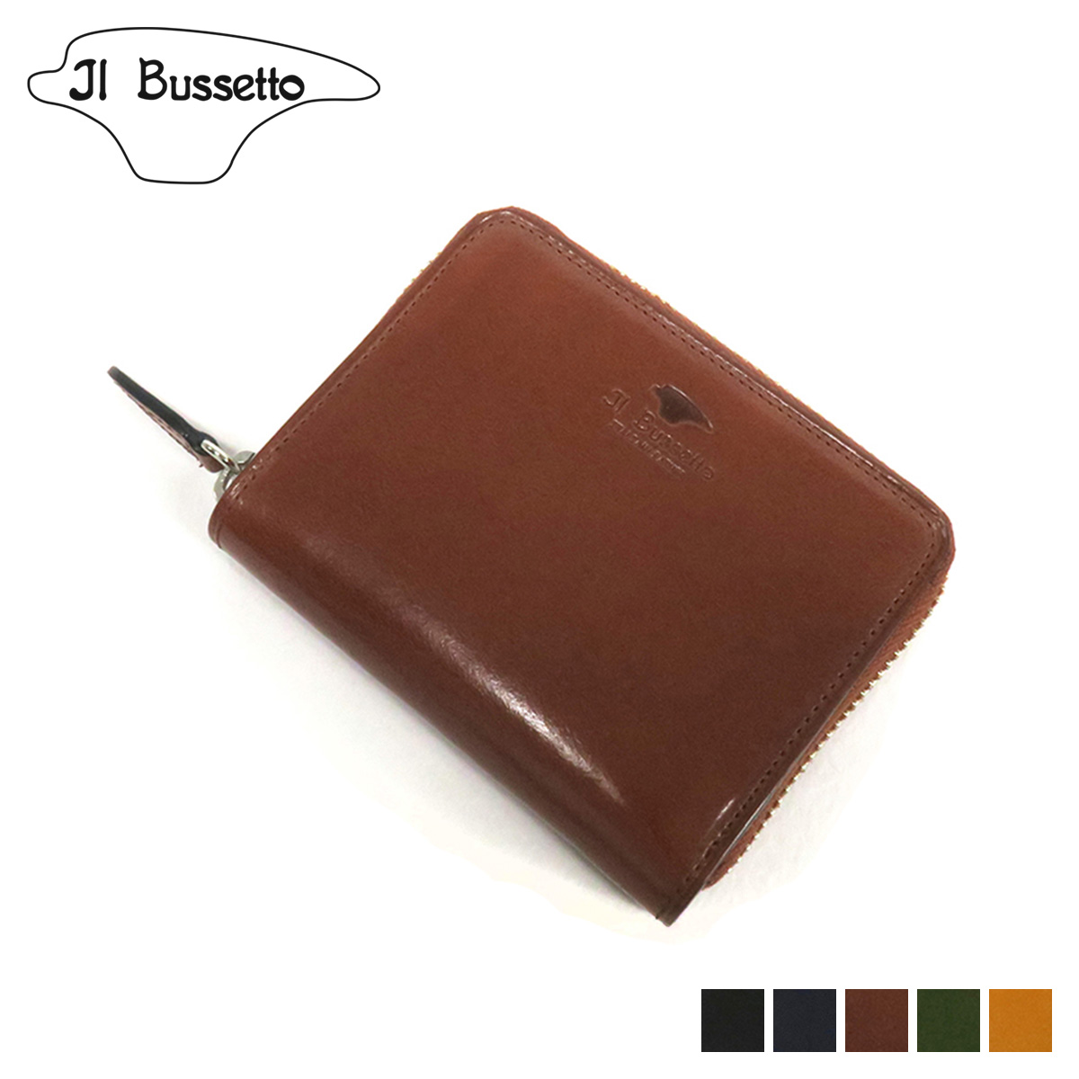 Il Bussetto ROUNDZIP MINI WALLET イルブセット 財布 二つ折り ラウンドファスナー メンズ レディース 本革 ブラック ネイビー ブラウン グリーン イエロー 黒 781521