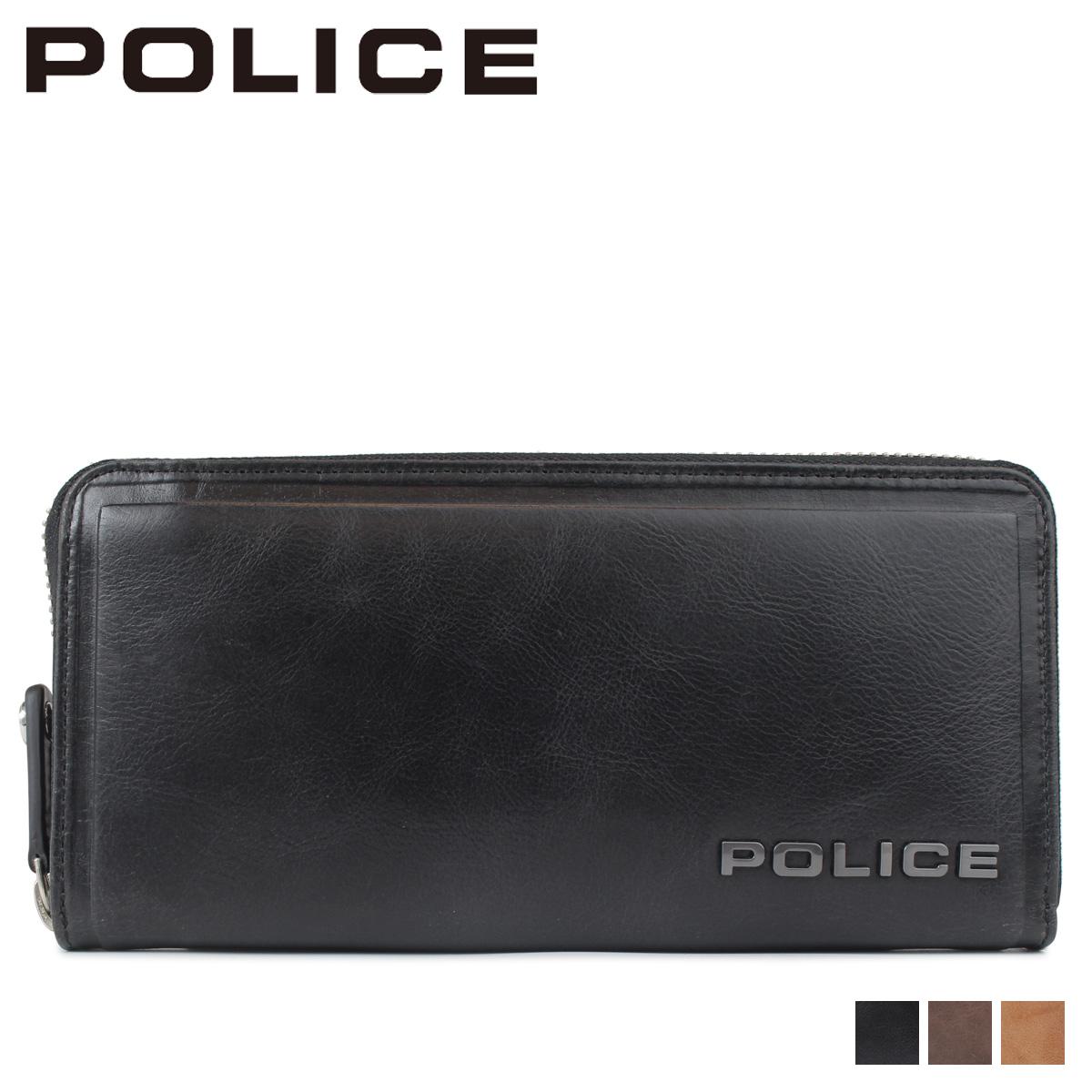 POLICE EDGE ROUND WALLET ポリス 財布 長財布 メンズ ラウンドファスナー レザー ブラック キャメル ダーク ブラウン 黒 PA-58002