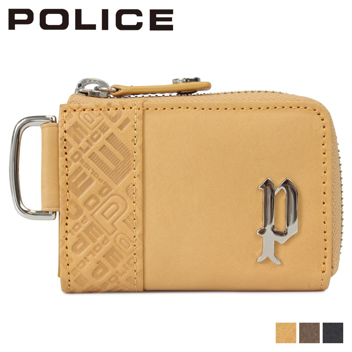 POLICE CIRCUIT COIN PURSE ポリス 財布 小銭入れ コインケース メンズ ラウンドファスナー レザー ブラック グレー キャメル 黒 PA-6101