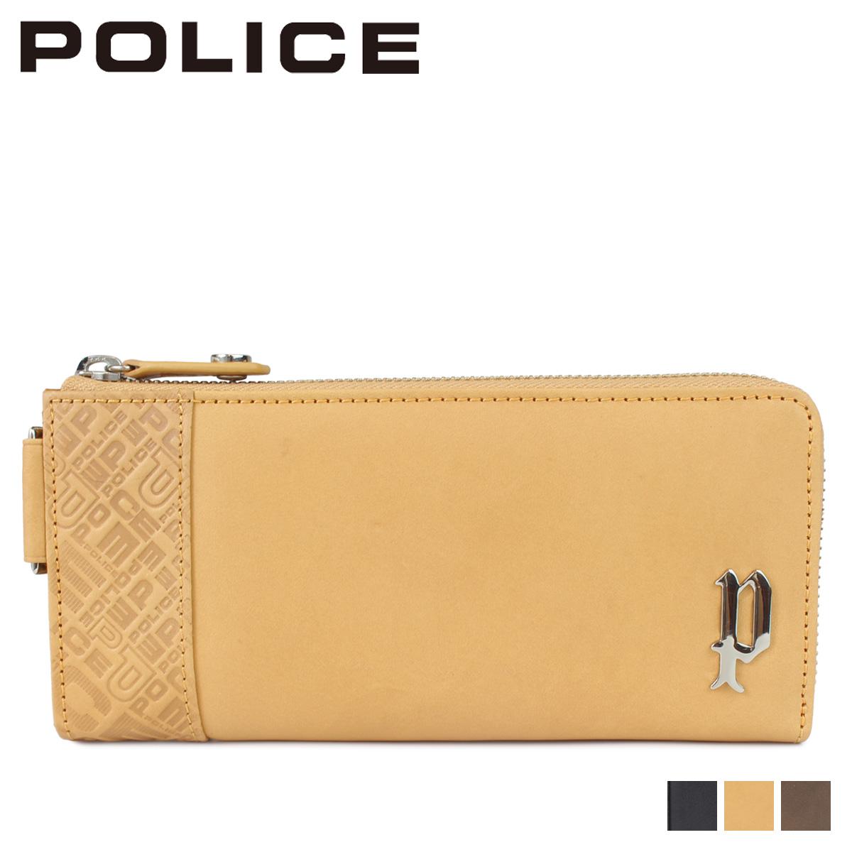 POLICE CIRCUIT LONG WALLET ポリス 財布 長財布 メンズ L字ファスナー レザー ブラック グレー キャメル 黒 PA-6103