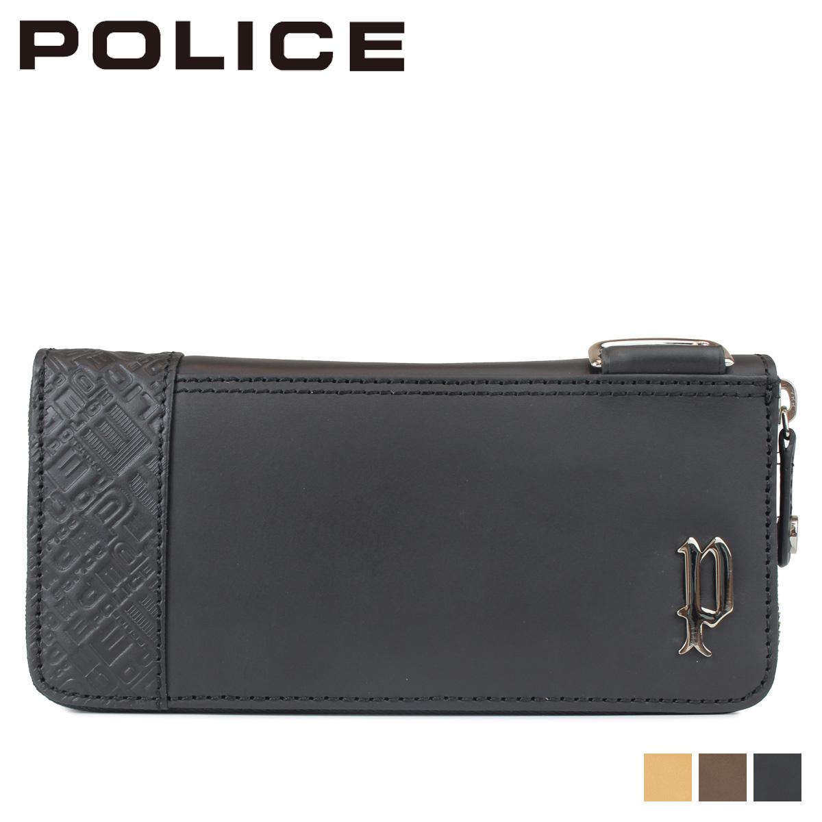 POLICE CIRCUIT ROUND WALLET ポリス 財布 長財布 メンズ ラウンドファスナー レザー ブラック グレー キャメル 黒 PA-6104