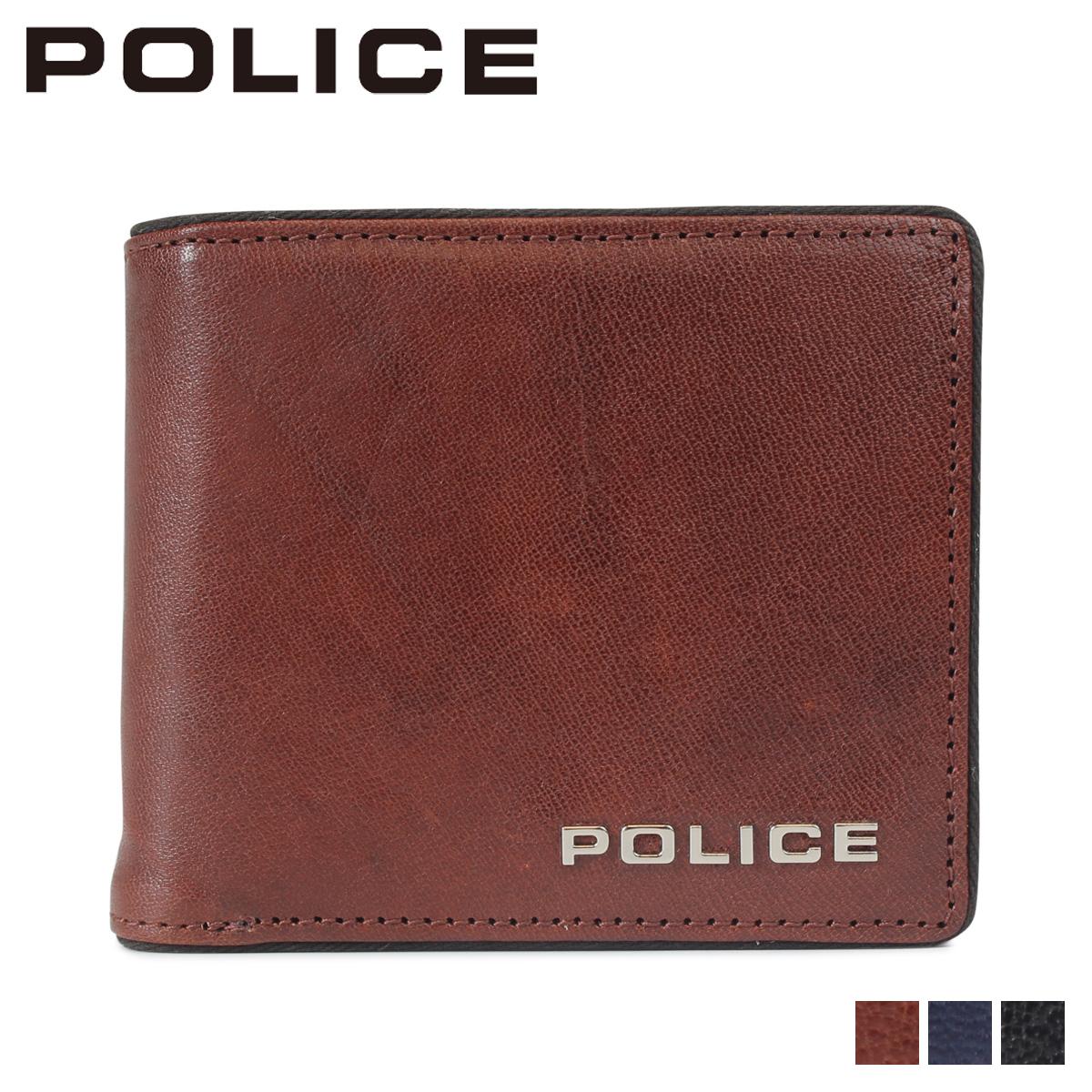 POLICE TERAIO SHORT WALLET ポリス 財布 二つ折り メンズ レザー ブラック ネイビー ダーク ブラウン 黒 PA-70001