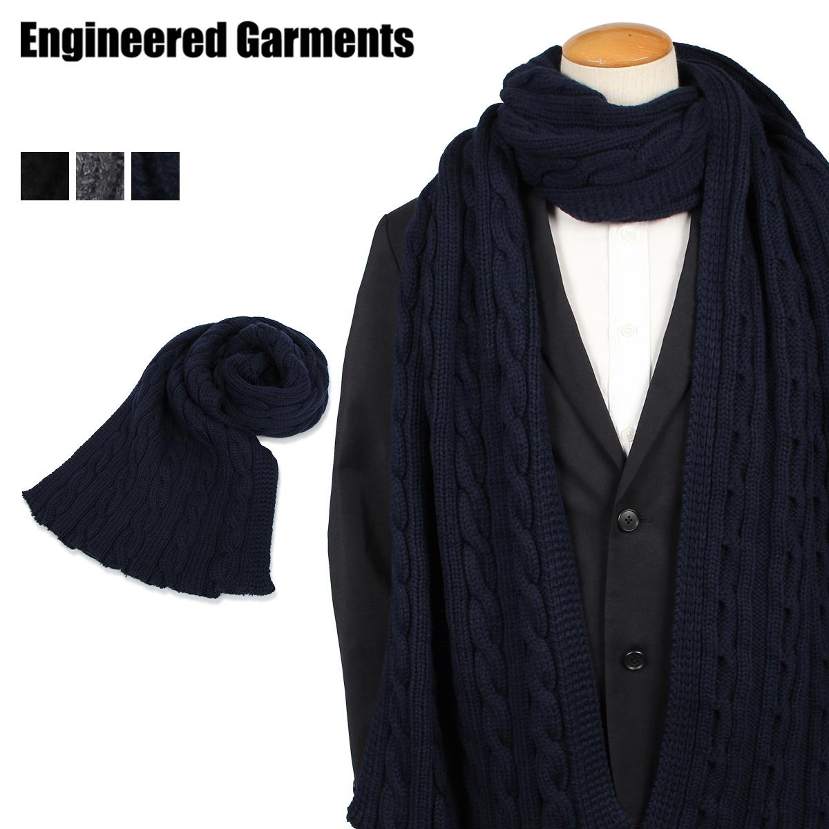 ENGINEERED GARMENTS KNIT SCARF エンジニアドガーメンツ マフラー ストール メンズ ブラック グレー ネイビー 黒 19FH018