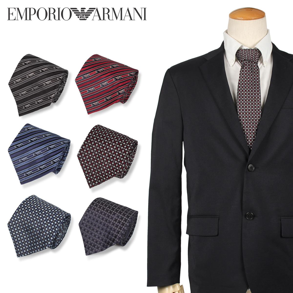 EMPORIO ARMANI エンポリオ アルマーニ ネクタイ メンズ イタリア製 シルク ビジネス 結婚式 ブラック ネイビー ワイン レッド ブルー ダークブルー 黒