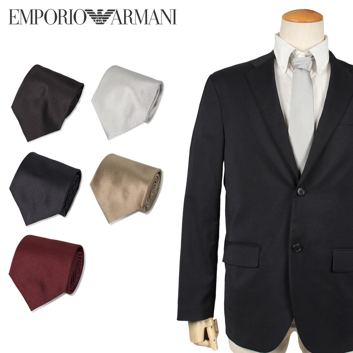 EMPORIO ARMANI エンポリオ アルマーニ ネクタイ メンズ イタリア製 シルク ビジネス 結婚式 ブラック ダーク ネイビー ワイン レッド ゴールド シルバー 黒
