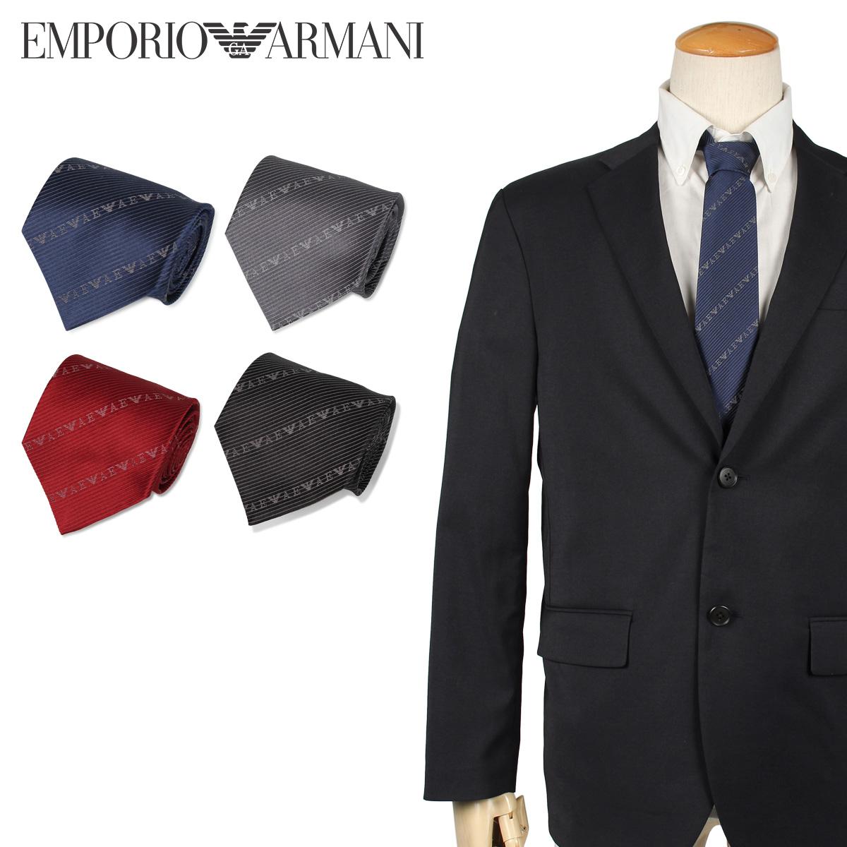 EMPORIO ARMANI エンポリオ アルマーニ ネクタイ メンズ イタリア製 シルク ビジネス 結婚式 ブラック グレー ネイビー レッド 黒