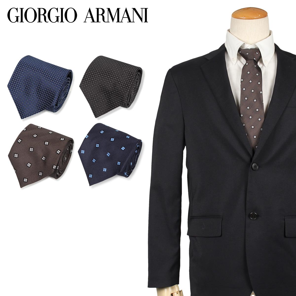 GIORGIO ARMANI ジョルジオ アルマーニ ネクタイ メンズ イタリア製 シルク ビジネス 結婚式 ブラック グレー ネイビー 黒 [10/11 新入荷]