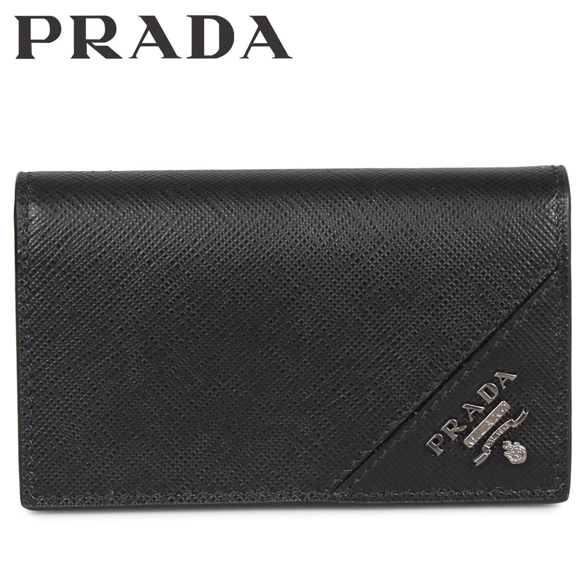 PRADA BUSINESS CARD HOLDER VOFTM プラダ 名刺入れ カードケース カードホルダー メンズ サフィアーノ ブラック 黒 2MC122QME