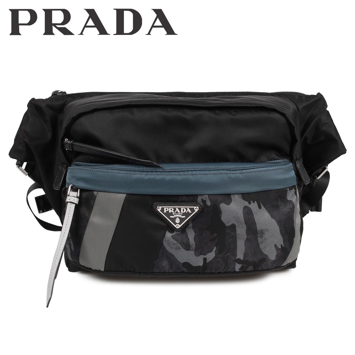 PRADA NYLON TECHNICALFABRIC CROSSBODY BAG プラダ バッグ ボディバッグ ショルダーバッグ メンズ レディース ブラック 黒 2VH038 [1910]