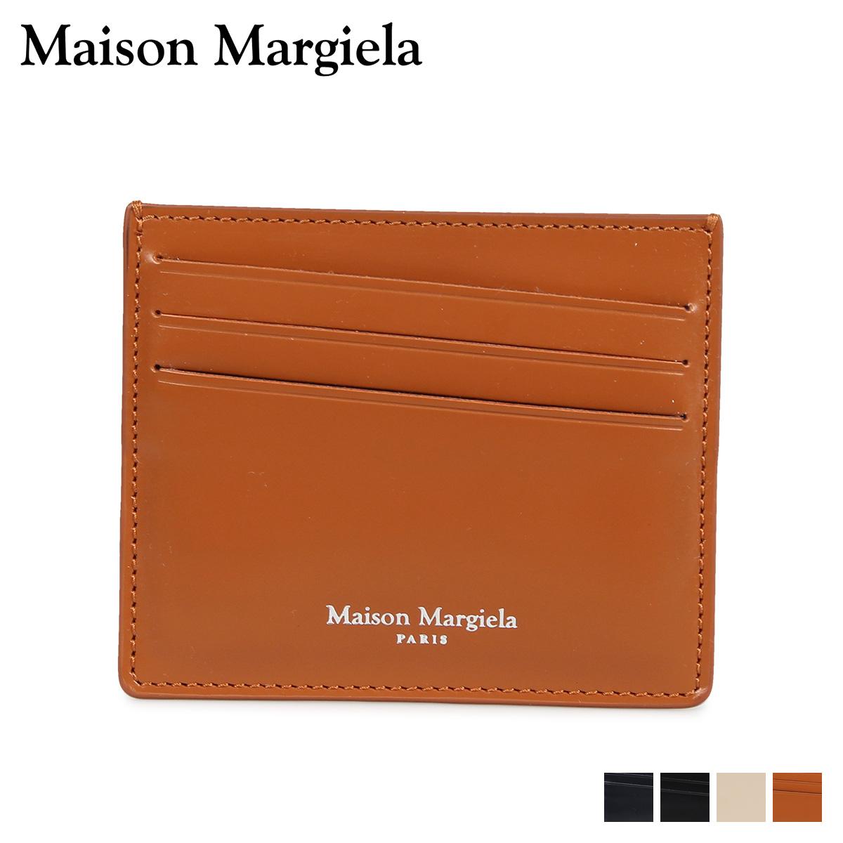 MAISON MARGIELA CARD CASE メゾンマルジェラ カードケース 名刺入れ 定期入れ メンズ レディース レザー ブラック ダーク ネイビー ベージュ ブラウン 黒 S35UI0432 P2714