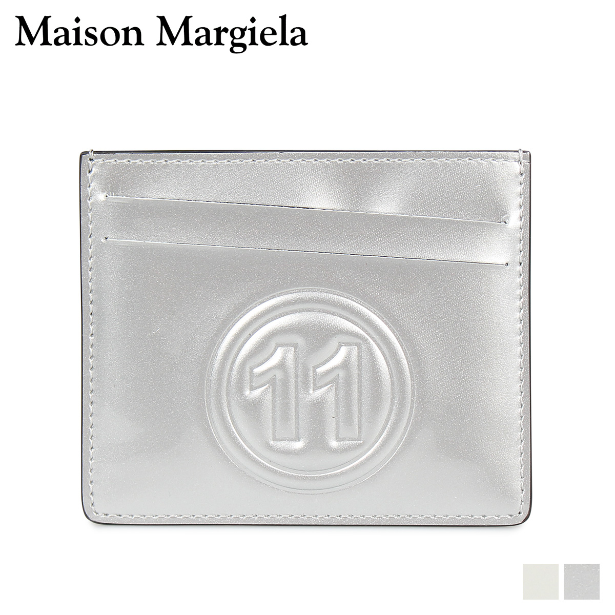 MAISON MARGIELA CARD CASE メゾンマルジェラ カードケース 名刺入れ 定期入れ メンズ レディース レザー ホワイト シルバー 白 S35UI0432 PR213